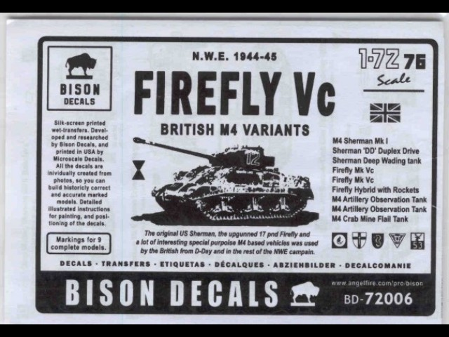 Decals for British Sherman Tanks